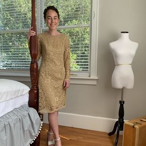 NWT Nanette Lepore Gold Lace Dress, Size 4